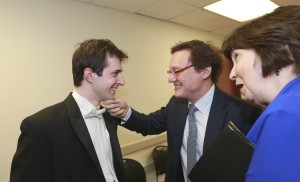 After his final-found Rachmaninoff performance, Kenny was congratulated by two of his teachers, Park University's Stanislav Ioudenitch and the University of Houston's Nancy Weems / Photo by Carolyn Cruz